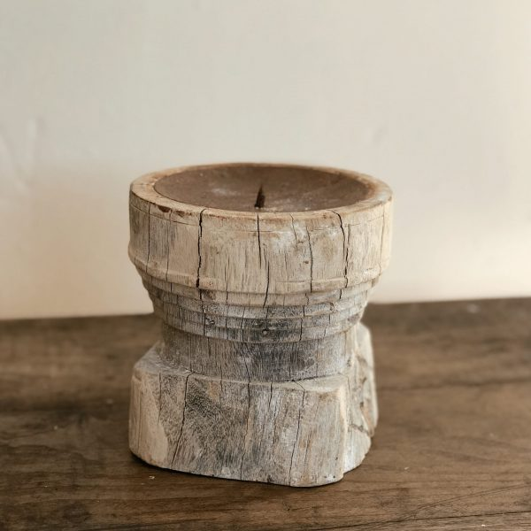 Portavelas madera tallada en bruto MM
